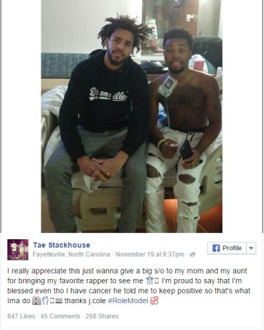 J. Cole Visits Fan Who Has Cancer