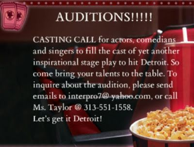 AUDITIONS:  Casting Call for Actors, Comedians and Singers for Stage Play in Detroit, MI