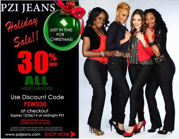 PZI Jeans Holiday Sales: Take 30% Off All Merchandise and Shop $20 Jeans This Sat and Sun!