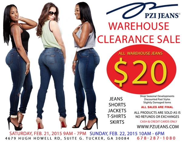 Don't Miss PZI Jeans 1st Warehouse Sale of the Year! All Warehouse Jeans ONLY $20!