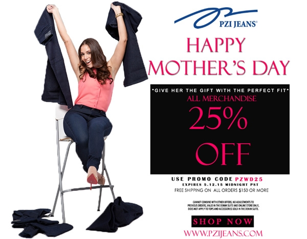 25% Off PZI Jeans Mother's Day Sale-Give the Gift with the Perfect Fit