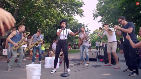 Janelle Monae Surprises New York Based Band & Fans In The Park (Video)