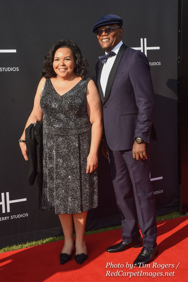 Actor Samuel Jackson and a Guest attend Tyler Perry s Atlanta Studio Grand Opening