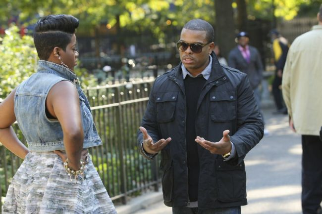 Fantasia and director Benny Boom on set of her video,