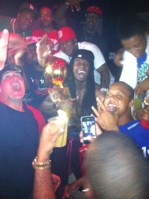 Lil Wayne, Baby and Mark Cuban celebrate the Dallas Mavericks championship in Miami