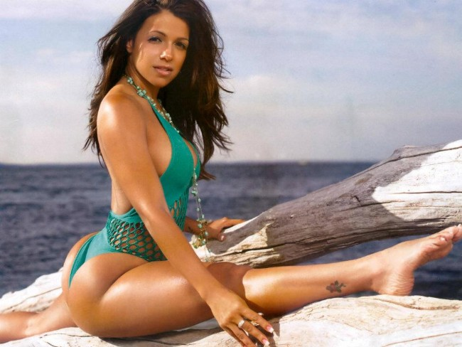 Vida Guerra spreads her booty by the water