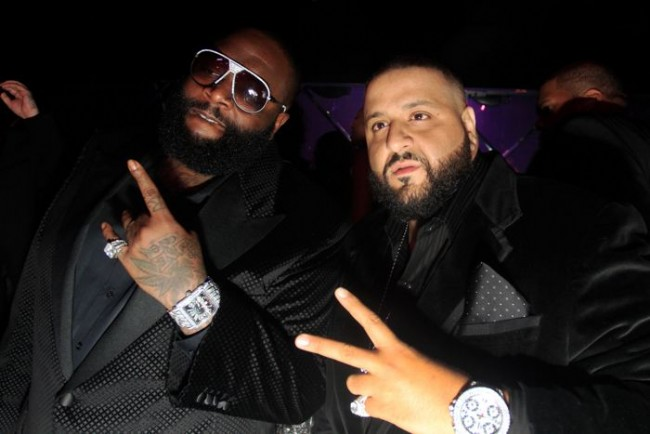 Rick Ross and DJ Khaled attend the 'Hennessy Takeover' New Year's Eve event at Cameo in Miami