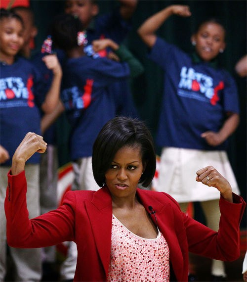 Michelle Obama flexes her muscles