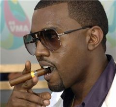 Kanye West smokes his stogie