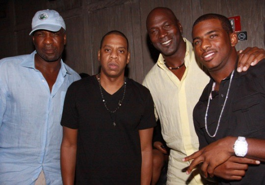 Charles Oakley, Jay-Z, Michael Jordan and Chris Paul