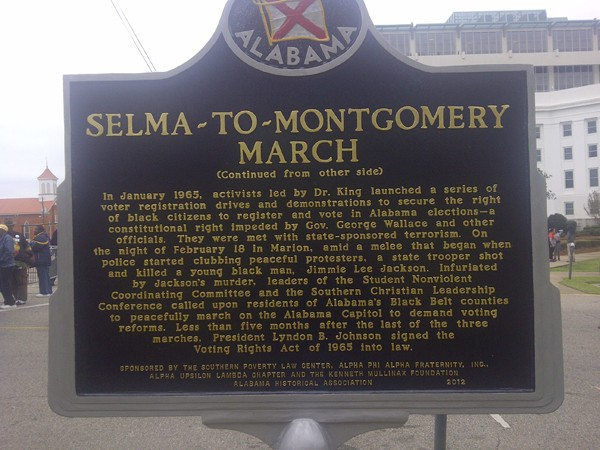 Selma-to-Montgomery March sign - back