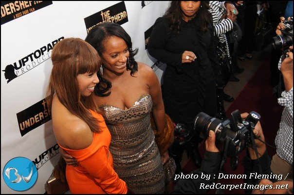 Actresses Elise Neal and Vanessa Bell Calloway pose on the red carpet for The Undershepherd Wash DC screening