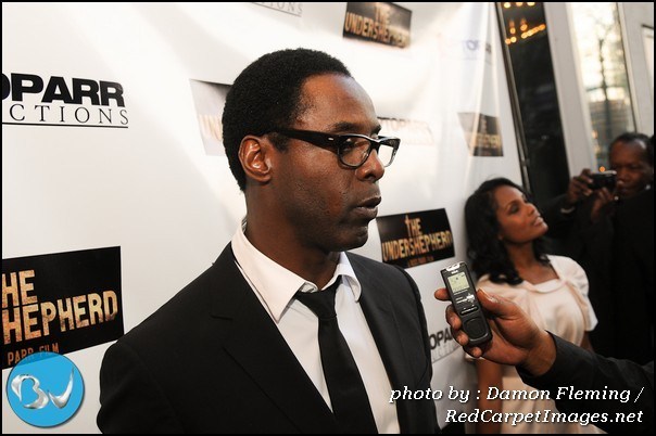 Actor Isaiah Washington talks to reporters before the screening