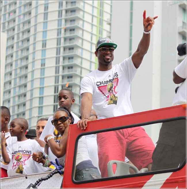 Dwyane Wade at the Miami parade