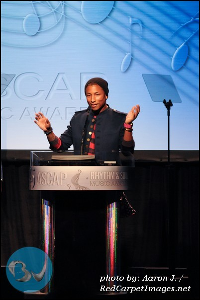 Pharrell at podium after receiving the ASCAP Golden Note Award