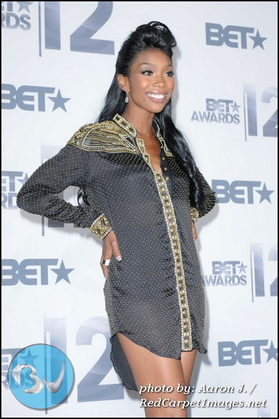 Singer Brandy strikes a pose in the press room at the 2012 BET Awards