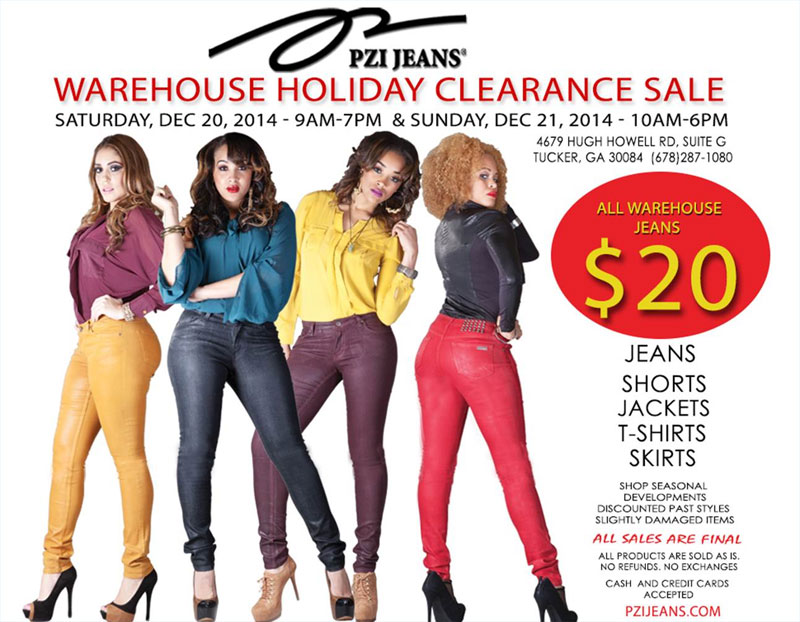 PZI Jeans Warehouse Holiday Clearance Sale