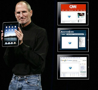 Apple CEO Steve Jobs holds up the iPad