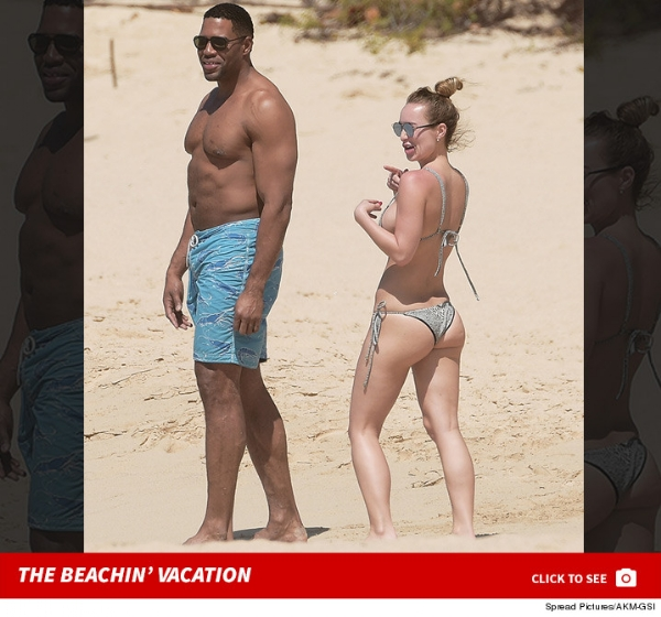 Michael Strahan -- Still Sack Champ ... Takes Down Bikini Bae in the Waves (PHOTOS)