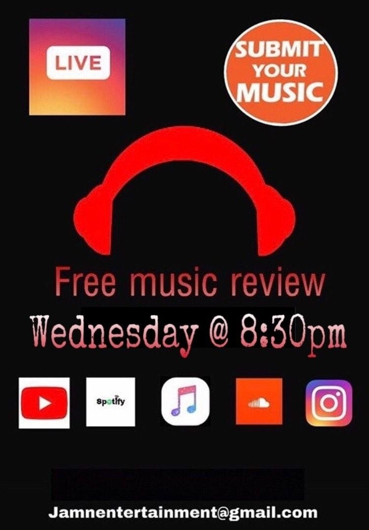 FREE MUSIC REVIEW ON INSTAGRAM LIVE EVERY WEDNESDAY AT 8:30PM