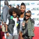 Jada Pinkett Smith with kids Jaden and Willow at the 2010 BET Awards