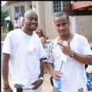 Raheem DeVaughn and DJ QuickSilver attend the Mansion Pool Party event