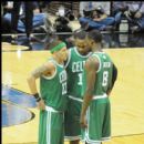 Celtics Delonte West, Glen Davis, and Jeff Green talk before the opening tip